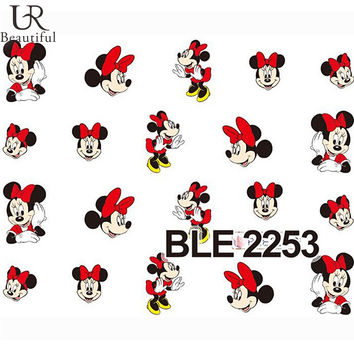 Nail Sticker 1 Sheet Red Cartoon Nail Art Water Transfer Sticker Decal Sticker For Nail Wraps BLE2253
