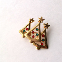 Christmas Tree Brooch with Rhinestones and Stars
