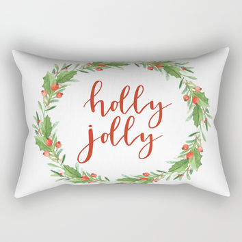 Christmas wreath-holly jolly Rectangular Pillow by Sylvia Cook Photography