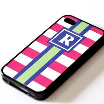 Nautical Monogram iPhone Case - Fuchsia Stripes