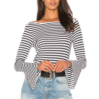 Splendid French Stripe Bell Sleeve Tee in Off White | REVOLVE