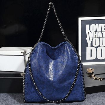 Women shoulder bags Fashion star chain bags Burst crack leather purse women 3 silver star chain bag female tote bags handbags