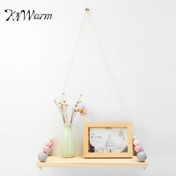 1pcs Hanging Wall Shelf Wood Rope Swing Vintage Rustic Room