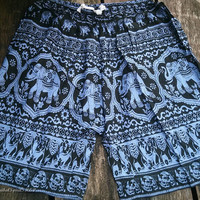 Blue Unisex Men & Women Summer Shorts Elephant Print Boho Beach Hippie Hipster Clothing Aztec Ethnic Bohemian Ikat Boxers Sleepwear Baggy