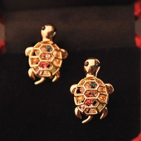 Colorful Turtle Rhinestone Earrings | LilyFair Jewelry