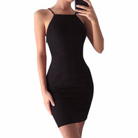 Sexy Back Bandage Cross Mini Halter Sleeveless Dress
