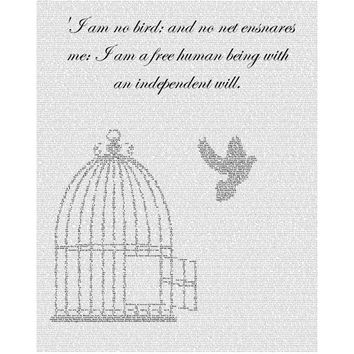 Jane Eyre - Text Art Print - Free Bird - Free AU Shipping