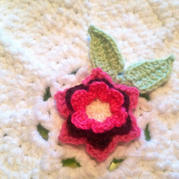 Hand Crochet Flower Appliqué Embellishments-Set of 3-Hot Pink, Chocolate Brown, and Bubblegum Pink, with Green Leaves