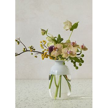 """Frosted Clear Glass Yomee Bud Vase - 5.75"""" Tall x 3.5"""" Wide"""
