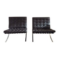 Pre-owned Mies Van Der Rohe Barcelona Style Chairs - A Pair