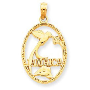14k Jamaica With Bird & Flowers Pendant (JC871)