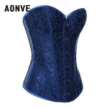 Blue Corset Gothic Steampunk  Bodice Wedding Sexy Lingerie Corsage Overbust Corsets and Bustiers Slimming Shaperwear S-2XL