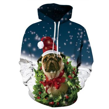 Santa Pug Dog 3d Print Skateboarding Hoodies Men Christmas Puppy Ugly Sweatshirt Training Hooded Tops Autumn Hoody Tracksuits