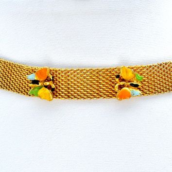 Vintage Gold Mesh Enamel Butterfly Choker Necklace