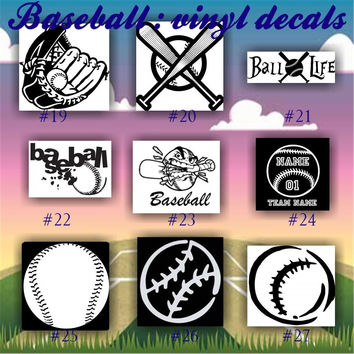 BASEBALL vinyl decals - 19-27 - vinyl sticker - car window sticker - custom vinyl decal