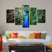 CANVAS ART  - Colorful Peacock Print on Canvas + Ready to Hang + 5 Panels Stretched Wall Art Canvas Print