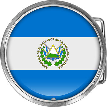 El Salvador Flag Belt Buckle