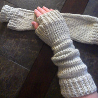 Warm Knit Extra Long Fingerless Gloves - Arm warmers-great gift for valentines day