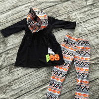 FALL OUTFITS girls 3 pieces with scarf sets girls Halloween boo oputfits children pant sets girls boutique clothing