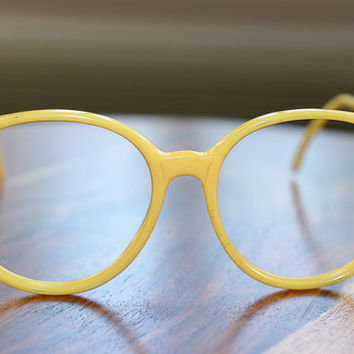 1980s Oversized Round Yellow Eyeglasses Tura Made in Canada