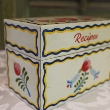 Vintage Metal Recipe Box -  Ohio Art - Retro Kitchen Red Blue Yellow Dutch Print