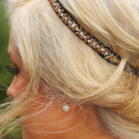 Eleven Pipers Piping Headband: Black/Pearl/Bronze - One