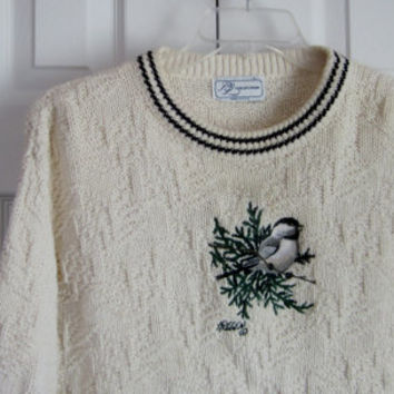 Vintage Bird Sweater, Cotton Knit Sweater, Womens Large, Pullover Sweater, Oversized Crewneck, Natural Ecru, Bird Scene, Made in USA, Nordic