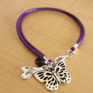 Lupus Purple Awareness Bracelet - Cotton - with Spoons