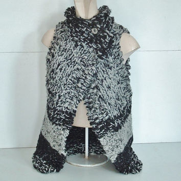 Chunky knit wrap vest sweater for extra small, small medium women in black and grey with Lopi wool