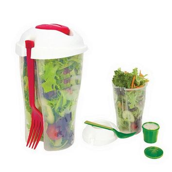 Fresh Salad On Go Cup Container Serving Cup Shaker with Dressing Container Fork Food Storage for Picnic Lunch