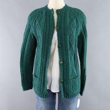 Vintage 1960s Green Irish Wool Fisherman's Sweater