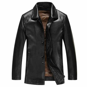 Spring Autumn Casual Para Hombres Slim Turn Down Collar Men Faux Leather Jackets