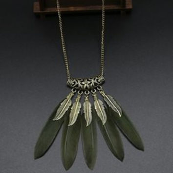 Stylish Carving Leaf Faux Feather Sweater Chain For Women