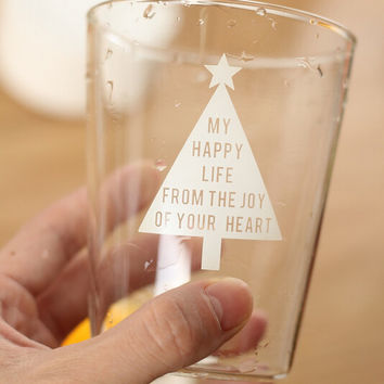 Christmas tree glass cup gift mug