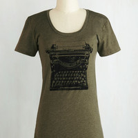 Nifty Nerd, Scholastic Mid-length Short Sleeves On the Write Track Top by ModCloth