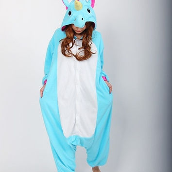 Cosplay Romper Charactor animal Hooded PJS Pajamas Xmas gift Adult Costume sloth outfit Sleepwear—Blue Unicorn [7655714822]