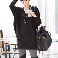 Simple Fashion Long Bat-Wing Black Blouses : Wholesaleclothing4u.com