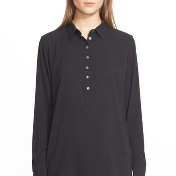 Women's Eleventy Long Sleeve Silk Henley Blouse,