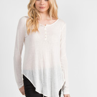 Long Sleeve Tunic Henley Top - Small
