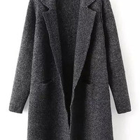 Black Notched Collar Long Sleeve Coat
