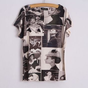 New Classic Women Audrey Hepburn Base Shirt Audrey Hepburn Printing T-Shirt Tees Top