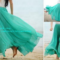 Summer Beach Dresses women green long skirt chiffon skirts