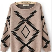 Khaki And Blue Geometric Diamond Pattern Loose Bat Sleeve Sweater #ECS005702