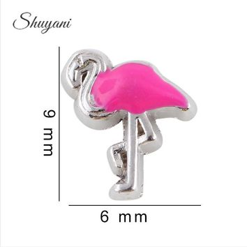 Pink Flamingo Floating Locket Charms for Memory Locket