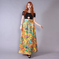 Vintage 70s Novelty SKIRT / 1970s High Waist Asian Print Long Boho Maxi Skirt S