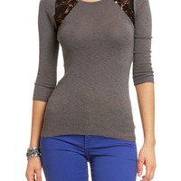 Lace Inset Heathered Sweater
