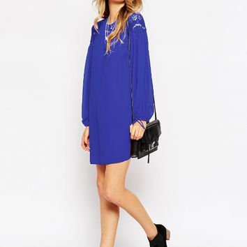 Solid Long Sleeve Lace Patchwork Chiffon  Lantern Sleeve Dress