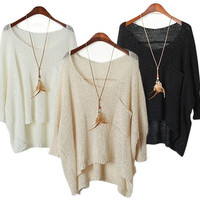 Women Casual Long Sleeve Knitted Sweater Loose Pullover Blouse Cardigan(not include necklace) = 1945853764