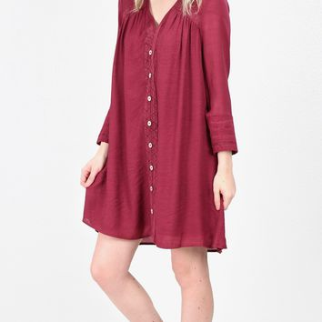 Love Lace Crochet + Button Dress {Burgundy}