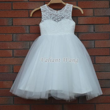 Lovely Ivory Lace Flower Girl Dress Wedding Baby Girls Dress Tulle Rustic Baby Birthday Dress Knee Length